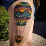 hot air balloon leg tattoo