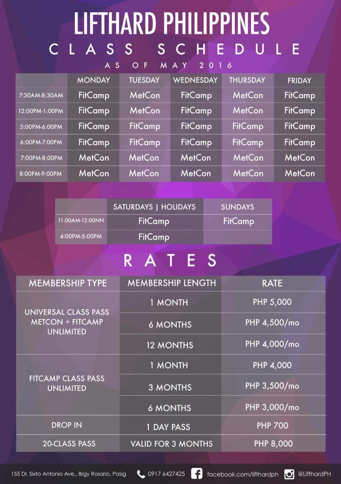 Lifthard Schedule and Rates for 2016