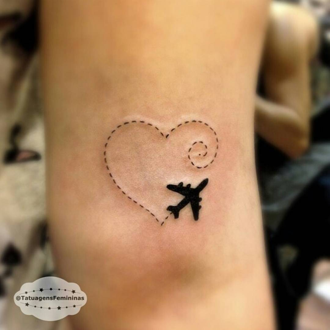airplane tattoo with heart